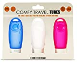 COMFY TRAVEL Silicone Bottles Set of 3 x 3 oz., Quality BPA Free Silicone, Leak Proof, Squeezable, Easy Clean & Refill, TSA Approved, Perfect Tubes Set for Toiletry Kits, Carry-on Luggage