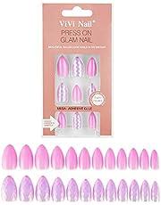 Press-on False Nail Art Kit - 24pcs Stiletto Nails with Mini Nails File & Nail Adhesive Tabs