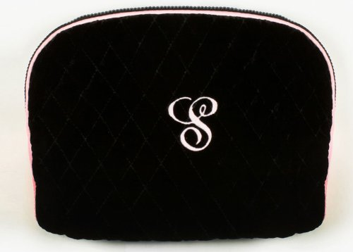 (Quilted Black Velvet Cosmetic Bag)