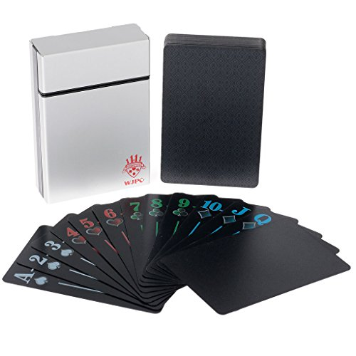 Poker Cards Plastic Playing Cards black Waterproof PVC Playing Cards Premium Premium Playing Cards for Texas Holdem Poker in Metal Box