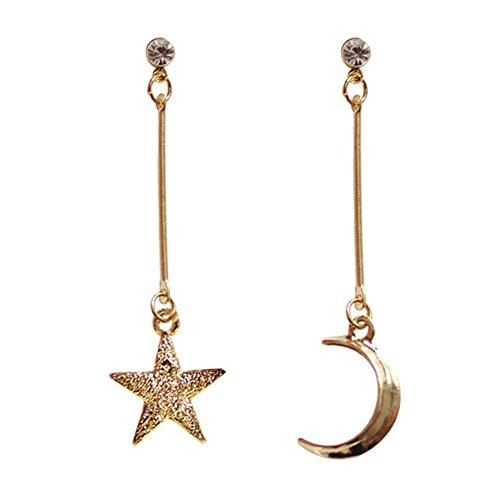 18K Gold Plated CZ irregular asymmetric frosted Moon and Star Women long tassel dangle Earrings