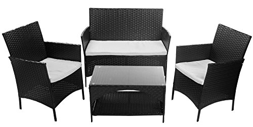 amazoncom merax 4 piece outdoor patio pe rattan wicker garden lawn sofa seat patio rattan furniture sets garden outdoor
