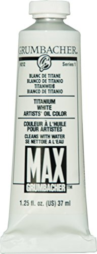 Grumbacher Max Water Miscible Oil Paint, 37ml/1.25 oz, Titanium White