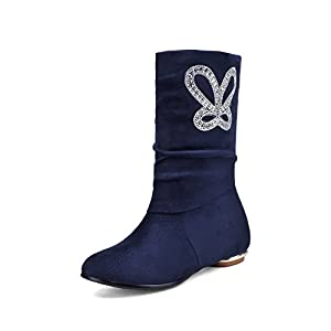 Ladola Ladies Square Heels Glass Diamond Blue Frosted Boots - 9 B(M) US