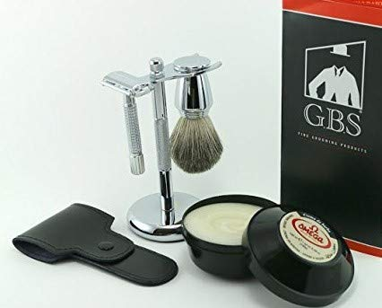 GBS Men's Wet Grooming Set with Italian Omega Shaving Cream, Butterfly Double Edge Razor with Etched Handle, Pure Badger Brush, Brush Stand +Leather Case + Blades Classic Vintage Set -
