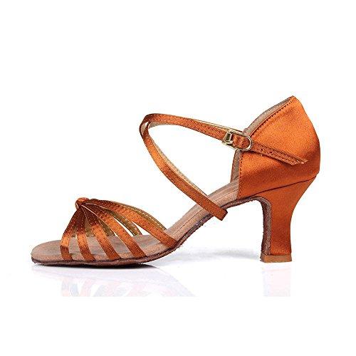 YFF Las mujeress Ballroom América tango baile zapatos de tacón Venta Pu/satinado Brown 2 5cm
