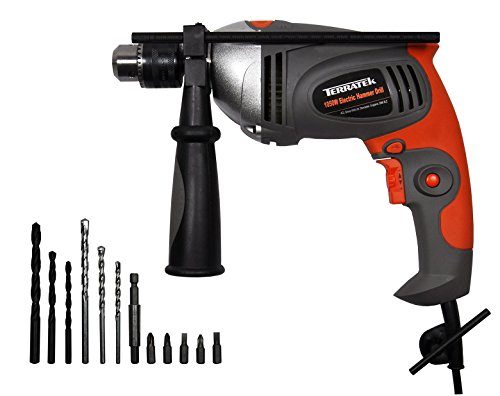 Terratek 1050W Hammer Drill, Powerful Variable Speed Electric Drill...