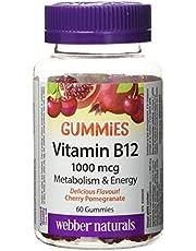 Webber Naturals Vitamin B12 Cyanocobalamin, Gummy, 1,000 mcg, 60 Count