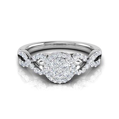 14K Or blanc, 0,51carat Diamant Taille ronde (IJ | SI) en diamant