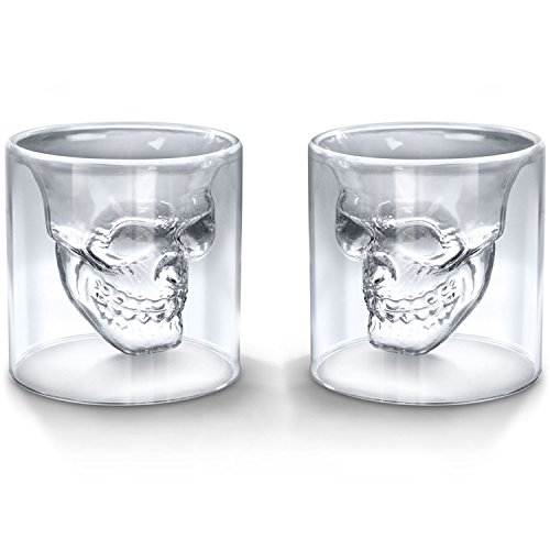 Set of 2 Crystal Skull Shotglass,2 PCS Skull Glass Cup,Double Layer Transparent Skull Pirate Shot Glasses Drink Cocktail Beer Cup,Wine Cup,Drinking Ware Mugs,Creative Halloween Mug 4.3oz,150ML