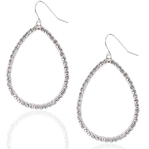 (Humble Chic Hoop Dangle Earrings - Simulated Diamond Teardrop Cutout Statement Rhinestone Drops, Silver-Tone Pave Teardrop, White)