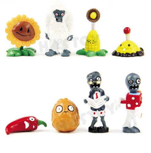 Shalleen Hot! Lot of 8 PCS Different Plants vs Zombies Anime Action Figures PVZ Toy (Gatling Peashooter Costume)