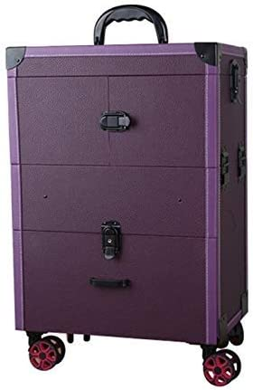 Maquillaje de uñas Estuche para Trolley de Gran Capacidad con cajón Estuche para cosméticos Maleta Desplazarse Multilayer Salón de Belleza Tattoo Trolley Suitcase - Negro (Color : Púrpura): Amazon.es: Hogar