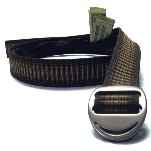 Bison Designs Crescent Money 38mm USA Made Gunmetal Buckle Travel Belt, Cappuccino, - Design Belt Buckle