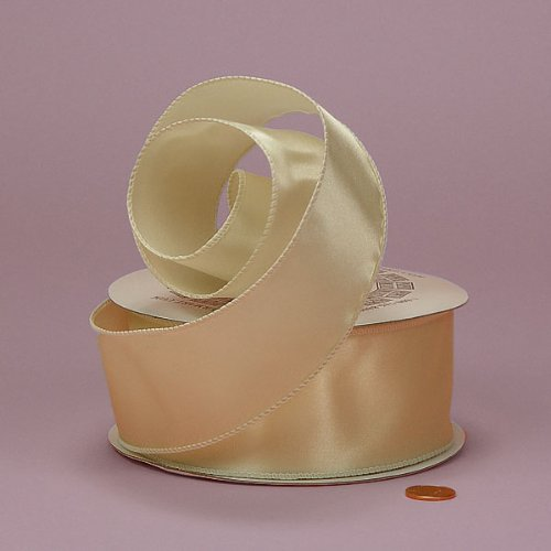 Ivory Wired Satin Ribbon - Ivory Cast-Over Wired Satin Ribbon, 2-1/2