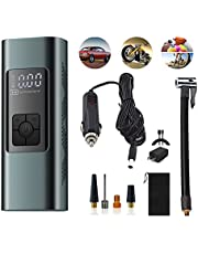 Tyre Inflator Portable Air Compressor, Cordless 6000mA Backpack Digital Air Pump for 2 Car Tyres/Time, 140PSI DC 12V Auto-Off Tyre Pump with Pressure Gauge for Car, Bike, Balls, Power Bank w/LED Light