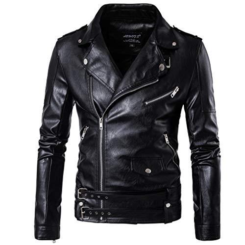 - Oudahood Moto Biker Leather Jacket Black XXL