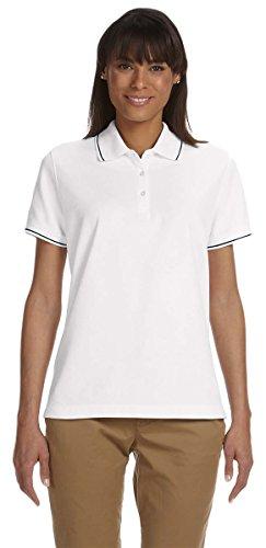 Devon & Jones Ladies Pima Piqué Short-Sleeve Tipped Polo, Medium, - Tipped Pique Pima Polo