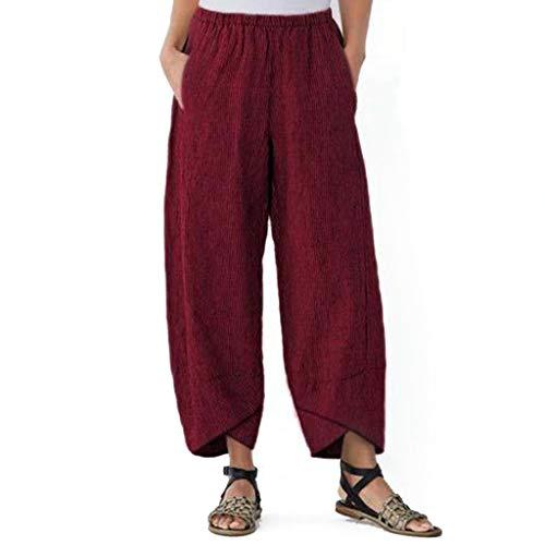 Womens Solid Pocket Elastic Waist Trousers Loose Linen Pants Ankle-Length Pants]()