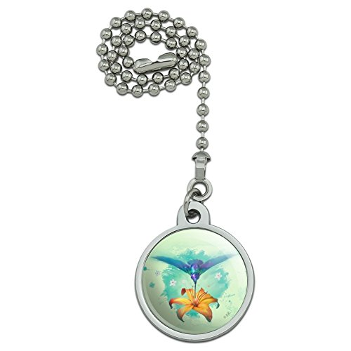 GRAPHICS & MORE Hummingbird and Tiger Lily Flower Ceiling Fan and Light Pull Chain ()