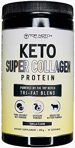 Keto Collagen Protein Powder w/Top Notch Tri-Fat Blend Featuring Avocado Powder, MCT Oil Powder, Grass Fed Butter Powder. Use in Smoothies, Coffee Creamer, or in Baking & Recipes (Vanilla)