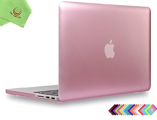 "UESWILL Luxury Gold Metallic Coated Hard Case Cover for MacBook Pro 15"" with Retina Display (NO Touch Bar,NO CD-ROM)(Model:A1398) + Microfibre Cleaning Cloth, Rose Gold"