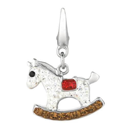 (AME Jewelers Sterling silver Crystal Rocking Horse (Charm))
