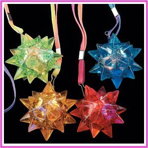 Flashing Panda Lot of 12 Light-Up Flashing Star LED Ball Pendant Necklaces, Assorted ()