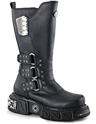 Mens 12.5 Tall Black Vegan Boots with 2.5 Sole and Velcro Shaft Closure