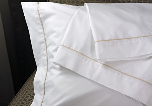 Westin Hotel 300TC Pillowcase Pair with Taupe Trim Piping - King