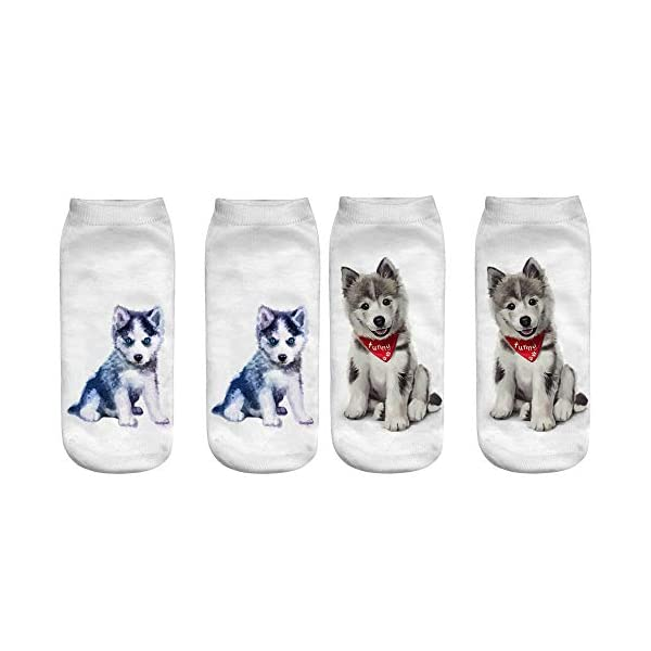 Angelteers Unisex's Funny 3D Husky Dog Ankle Socks Cute Low Cut Socks for Summer 4