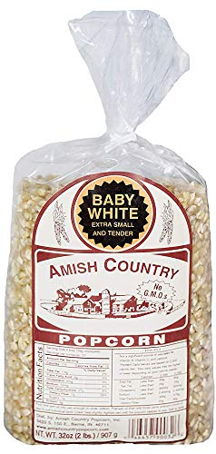 Amish Country Popcorn - Baby White Extra Small and Tender - Old Fashioned, Non GMO, Gluten Free, Microwaveable, Stovetop and Air Popper Friendly (2lb Bag with Recipe Guide)