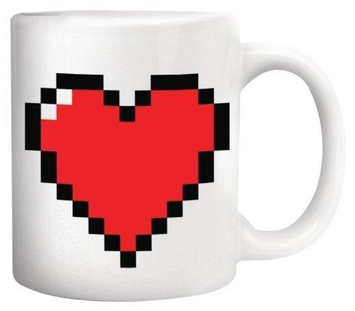 (OrangeTag Magic Morning Mug Coffee Tea Milk Hot Cold Heat Sensitive Color-changing Pixel Heart Morphing Mug)