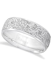 Carved Flower Wedding Ring Wide Band For Men in Palladium (7mm)Carved Ring