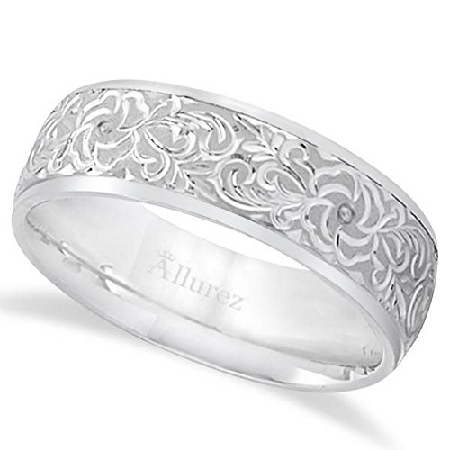 Hand Engraved Flower Wedding Ring Band Wide for men and women 14k White Gold (7mm) (Hand Carved Wedding Band)