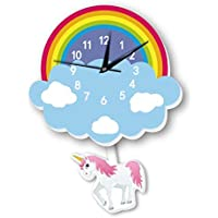 Cartoon lovely Home Decoration Accessories Wall Stickers 3D Rainbow Unicorn Wall Clock Background Decoration For Kids Rooms Home decor mm
