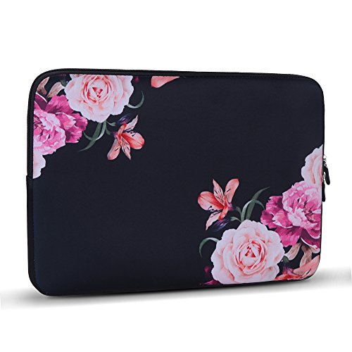 iLeadon 13 Inch Laptop Sleeve Case Neoprene Sleeve Cover Bag For 13.3 Macbook Air Pro Retina Surface Laptop Waterproof Protection Chromebook 12.9-inch iPad Pro Tablet Case (13 inch, Peony)