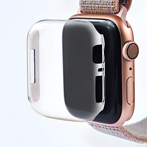 Leotop Compatible with Apple Watch Case 40mm 44mm, PC Hard Clear Screen Protector Full Cover Thin Snap-On Anti-Scratch Lightweight Bumper Compatible iWatch Series 4 (Clear, ()