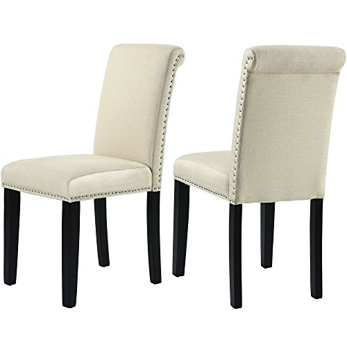 GOTMINSI Set of 2 Stylish Fabric Dining Chairs with Solid Wood Legs (Beige)