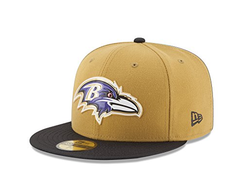 NFL Baltimore Ravens Gold Collection 59FIFTY Fitted Cap, Size 718, Gold Crown