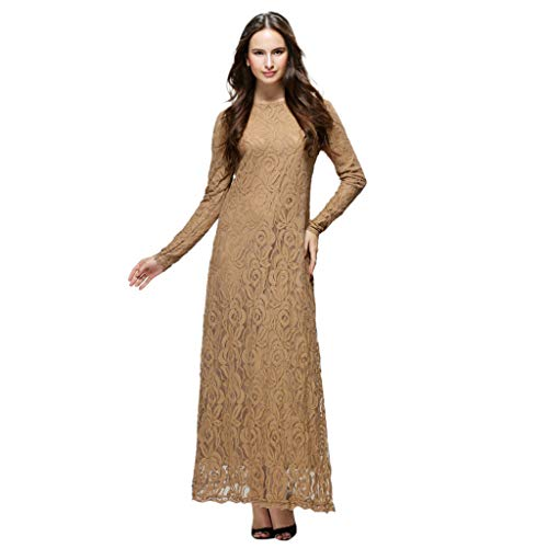 Tootu Women Dress Slimming Long Dress Lady Lace Double Layer Long Muslim -