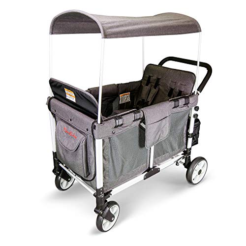 Multi-Function Four Passenger Folding Quad Stroller Wagon with Removable Canopy and Seats Up to 4 Toddlers (Gray)