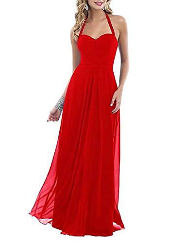 Hater Chiffon Bridesmaid Dresses Size Prom DreHouse Long Plus Red Gowns Pleats Women's qREEXw