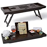 Bathtub Tray & Laptop Bed Desk –Patent Pending 2 In 1 Innovative Design Transforms Our 100% Extra Large Bamboo Bathtub Caddy To Bed Tray (10'' wide) – For The Ultimate Pampering Experience(Espresso)