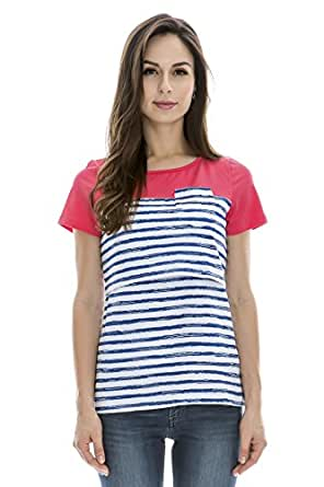 Bearsland Maternity Women's Patchwork Striped Maternity Nursing Tops BlueWhite Size M