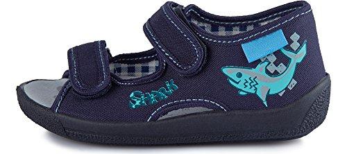 Ladeheid Kinder Hausschuhe LARB006 Marineblau/Aquamarin