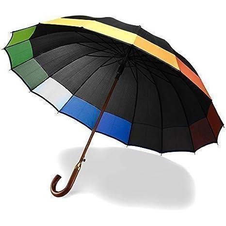 16 Panel Negro Paraguas del arco iris - a prueba de viento boda Botón automático Crook