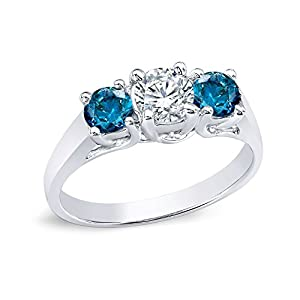 14k White Gold Round 3-Stone Diamond Engagement Ring (3/4 cttw, H-I, Blue, I1-I2)