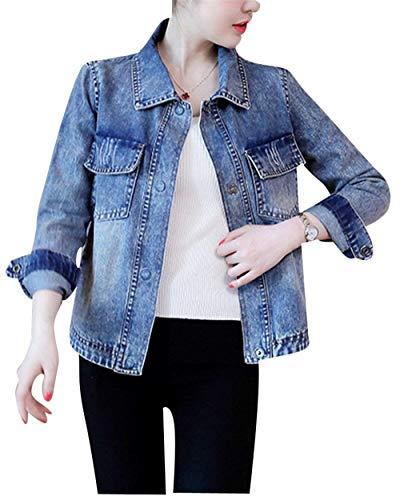 Donna Lunga Stampato Digitale Cappotto Casuale Jeans Giubbino Als Blu Semplice Moda Eleganti Manica Denim Bild Vintage Autunno Giacche Glamorous Primaverile Bavero Baggy Outerwear F6zFrxwAWq