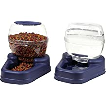 totoshop New Automatic Pet Food Drink Dispenser Dog Cat Feeder Water Bowl Dish Large Combo